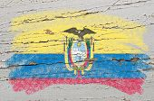 Flag Of Ecuador On Grunge Wooden Texture Painted With Chalk