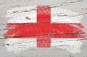 Flag Of England On Grunge Wooden Texture Painted With Chalk