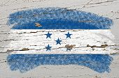 Flag Of Honduras On Grunge Wooden Texture Painted With Chalk