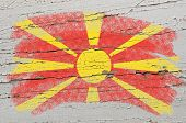 Flag Of Macedonia On Grunge Wooden Texture Painted With Chalk