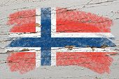 Flag Of Norway On Grunge Wooden Texture Painted With Chalk