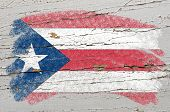 Flag Of Puertorico On Grunge Wooden Texture Painted With Chalk