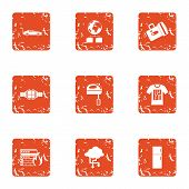 Business Band Icons Set. Grunge Set Of 9 Business Band Vector Icons For Web Isolated On White Backgr poster