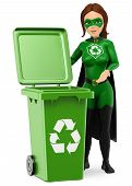 3d Environment People Illustration. Woman Superhero Of Recycling Standing With A Green Bin For Recyc poster