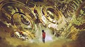 Boy Standing And Looking At Broken Golden Gear Wheels, Digital Art Style, Illustration Painting poster