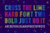 Line Condensed Alphabet And Font. Uppercase Outline Letters. Type, Typography Letter Line Font. Hand poster