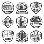 Vintage Monochrome Wine Labels Set With Wineglass Bottles Wooden Barrels Of Wine Grape Bunches Corks poster