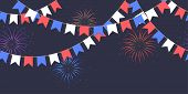 Seamless Garland With Celebration Flag Chain, White, Blue, Red Pennons And Salute On Dark Background poster