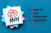 A Note With Calendar Date - 25th Of May And Text General Data Protection Regulation. Concept Gdpr Ma poster