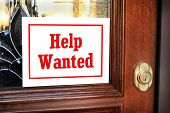 Help Wanted Sign On The Front Door. poster