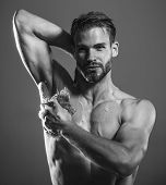 Bearded Macho, Guy With Strong Muscles Taking Shower. Starting Day. Sexy Macho, Man, Muscular Attrac poster
