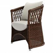 Garden Rattan Wicker Chair On White Background.digital Illustration.3d Rendering poster
