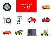 Automotive Icons Set With Car Wheel, Crane Truck And Fork Lift Truck. Thirteen Vector Icons poster