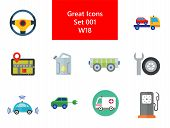 Car Icon Set. Steering Wheel Tire Electric Car Spanner And Car Wheel Petrol Jerrican Electrocart Tow poster