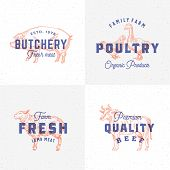 Premium Quality Vintage Meat And Poultry Labels. Retro Print Effect Emblems. Abstract Vector Sign, S poster