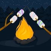 Flame Fire Background. Fiery And Wooden Matches Logs And Bonfire In Forest Vector Illustration. Bonf poster