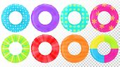 Swim Rings Set. Inflatable Rubber Toy. Lifebyou Colorful Vector Collection. Realistic Summertime Ill poster