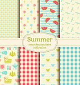 Seamless Patterns With Checkered Blanket, Watermelons, Butterflies, Flowers, Dragonflies And Picnic  poster