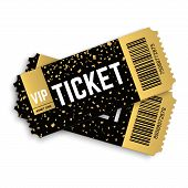 Two, Pair Golden Vector Vip Tickets. Realistic 3d Design With Gold Confetti On White Background. Con poster