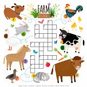 Farm Animals Crossword. Kids Crossing Word Search Puzzle Game With Cat And Cow, Dog And Cock, Horse  poster