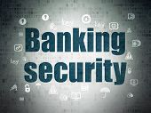 Security Concept: Painted Blue Text Banking Security On Digital Data Paper Background With  Hand Dra poster