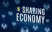Sharing Economy With Connection People Icon Floating On Navy Blue Tech Background,digital Economy Te poster