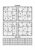 Four Sudoku Puzzles Of Comfortable (easy, Yet Not Very Easy) Level, On A4 Or Letter Sized Page With  poster