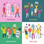 People Parade 2x2 Design Concept Set Of Feminists Agitators Greenpeace And Fan Club Square Icons Fla poster
