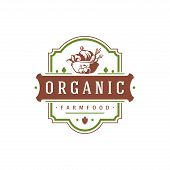 Farmers Market Logo Template Vector Illustration. Farmer Logotype Or Badge Design. Trendy Retro Styl poster