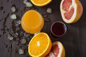Variety Of Fruit Juices In Four Glasses Orange Juice, Cherry Juice, Mix Juice Of Apple, Apricot, Pea poster