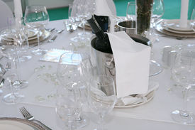 foto of wedding table decor  - Elegant dinner table with Cooling champagne or wine - JPG