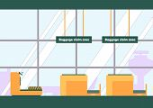 Baggage Claim Area In Airport Vector Illustration. Luggage Reclaim Room, Baggage Carousel, Conveyor  poster