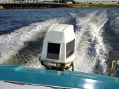 picture of outboard  - outboard motor on a boat - JPG
