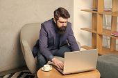 Businessman Work Laptop. Responding Business Email. Surfing Internet. Project Manager. Digital Busin poster