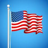ilustração de Flas americano acenando em pano de fundo do céu