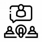 Microphone And Hosts Icon Vector. Outline Microphone And Hosts Sign. Isolated Contour Symbol Illustr poster
