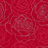 Beautiful Monochrome Black And White Seamless Pattern With Line Roses. Hand Drawn Contour Lines. Des poster