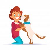Child Playing With Dog Flat Vector Illustration. Cheerful Little Boy Cartoon Character. Smiling Kid  poster