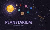 Planetarium Flat Banner Vector Template. Astronomy, Cosmology Studies, Stars Observation. Observator poster