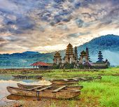 Temple Komala Tirta at sunrise time. Tamblingan lake. Bali