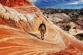Hike in the Utah mountains. Hiking in unusual natural landscapes. Fantastic forms sandstone formatio poster