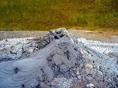 Mud Volcano. A Mud Volcano Or Mud Dome Is A Landform Created By The Eruption Of Mud Or Suspensions,  poster