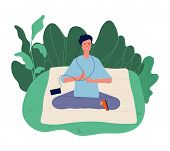 Meditation Concept. Male Meditating, Yoga Exercising. Wellbeing Lifestyle, Harmony Energy And Calm M poster