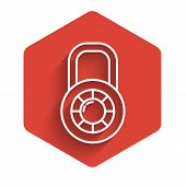 White Line Safe Combination Lock Wheel Icon Isolated With Long Shadow. Combination Padlock. Security poster