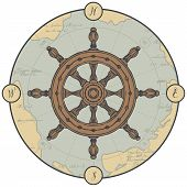 Vector Banner Of Round Shape With A Hand-drawn Ship Helm On The Background Of An Old Map. Illustrati poster