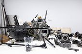 Sports Car Engine Parts On The Table. Assembling Of Vehicle Engine. Car Engine Parts. Assembly Of Mo poster