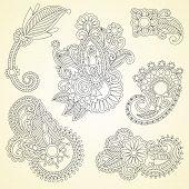 Abstract Henna Mendie Black Flowers Doodle Illustration