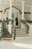 Veranda Of The House With Christmas Decor, Wreath On The Blue Door. poster