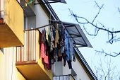 Things Dry Outside The Window Or Outside The Balcony. The Old Way To Dry Things, The Dorm. People In poster