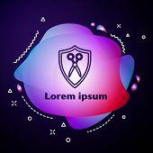 Purple Line Scissors Hairdresser And Shield Icon On Dark Blue Background. Hairdresser, Fashion Salon poster